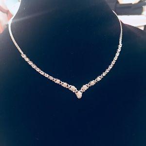 Jewelry - Genuine Diamonds XO Graduated V Bar Necklace 925SV